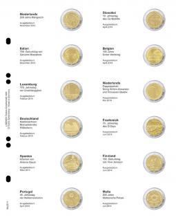 1 x LINDNER MU2E11 Multi Collect Münzhüllen Vordruckblatt 2 Euro Gedenkmünzen Niederlande November 2013 - Malta Juli 2014