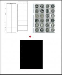 10 x LINDNER MU24 Multi Collect Münzblätter Münzhüllen 24 Taschen für Münzen bis 34 x 34 mm + schwarzen ZWL Ideal für 5 - 10 - 20 Euro / DM