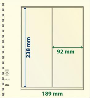 10 x LINDNER 802119P T-Blanko-Blätter Blankoblatt 18-Ring Lochung 2 Taschen 238 x 92 mm senkrecht Für Rollenmarken - Rollenstreifen - Vorschau 1