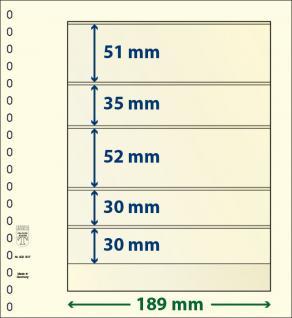10 x LINDNER 802507P T-Blanko-Blätter Blankoblatt 18-Ring Lochung 5 Taschen 51 / 35 / 52 / 30 / 30 x 189 mm