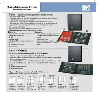 5 x SAFE 770 COIN N Ergänzungsblätter Münzblätter + 12 schwarze Patent Münzrähmchen für Münzen von 14 - 47 mm - Vorschau 2