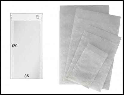 250 x LINDNER 721 - Pergamintüten Pergaminbeutel Pergamintaschen 85 x 170 mm + 20 mm Klappe für Briefmarken Pillen Samen Münzen