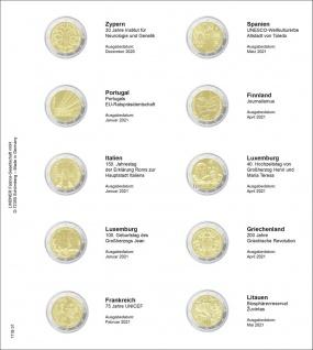 1 x LINDNER 1118-31 Vordruckblatt + K3 Karat Blatt Münzblatt Münzhüllen 2 EURO Gedenkmünzen Zypern 2020 - Litauen 2021
