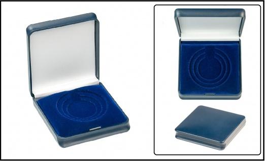 Lindner 2028 Blaues Kunststoff Münzetui mit 3 Sufen Münzeinlage 30 - 40 - 50 mm
