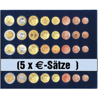 SAFE 5792 Premium WURZELHOLZ Münzkassetten 3 Tableaus 6340 Für 15 komplette Euro KMS Kursmünzensätze 1, 2, 5, 10, 20, 50 Cent - 1, 2 € Euromünzen - Vorschau 3