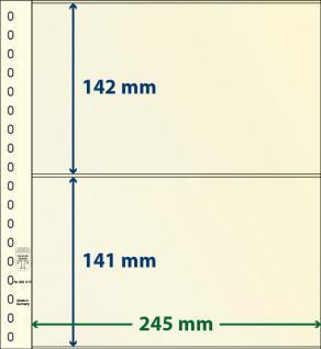 10 x LINDNER 802217P T-Blanko-Blätter Blankoblatt 18-Ring Lochung - 2 Taschen 142 / 141 x 245 mm