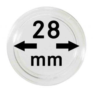 5 LINDNER Münzkapseln / Münzenkapseln Capsules Caps 28 mm 2250028P