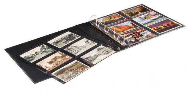 LINDNER 3560 Postkartenalbum Ringbinder PUBLICA XL Schwarz (leer) zum selbst befüllen Für Postkarten - Briefe Banknoten Belege - Vorschau 3