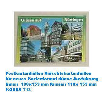 1000 KOBRA T13 Postkartenhüllen neue Postkarten Ansichtskarten Außen 110 x 155 mm Innen 108 x 153 mm - Vorschau 1