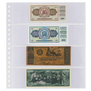 1 x LINDNER 852 Klarsichthüllen Banknotenhüllen 4 Taschen Streifen 240 x 65 mm mit schwarzen Zwischenblättern