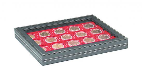 LINDNER 2367-2722E Nera M Plus Münzkassetten mit Dunkelroter Einlage + Sichtfenster Für 20 Octo Carree Münzkapseln