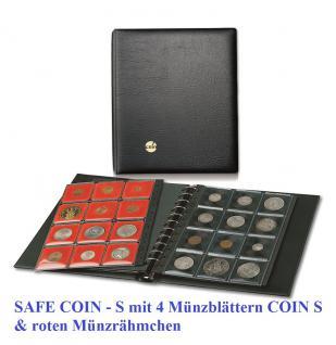 SAFE 762 COIN-N Münzalbum Ringbinder + 4 Ergänzungsblätter inklusive 48 roten Münzrähmchen für Münzen von 14 - 47 mm