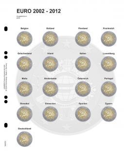 1 x LINDNER MU2E8 Multi Collect Münzblätter Münzhüllen Vordruckblatt 2 Euro Gedenkmünzen Gemeinschftsausgabe 10 Jahre Euro Bargeld 2012
