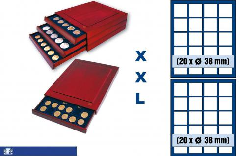 SAFE 6838 XXL Nova Exquisite Holz Münzboxen Schubladenelement mit 2 Tableaus 6338 und 40 Eckige Fächer 38 mm Für 10 20 Euro in Münzkapseln 32, 5 / 33 mm & Münzen bis 38 mm