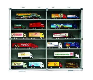 SAFE 5777 Alu Sammelvitrinen Vitrinen Setzkasten MAXI mit 12 Fächern in grau Für Mini Trucks LKW Modellbau KFZ Autos