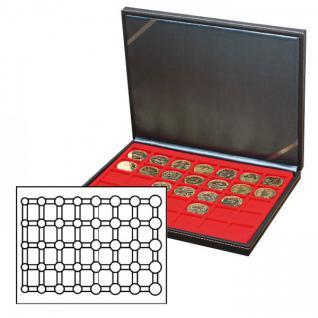 LINDNER 2364-2556E Nera M Münzkassetten Einlage Hellrot Rot für 5 komplette Euro Kursmünzensätze KMS 1 Cent - 2 € in Münzkapseln