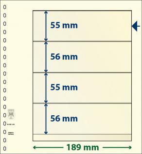 10 x LINDNER 802420P T-Blanko-Blätter Blankoblatt 18-Ring Lochung 4 Taschen 55 / 56 / 55 / 56 x 189 mm