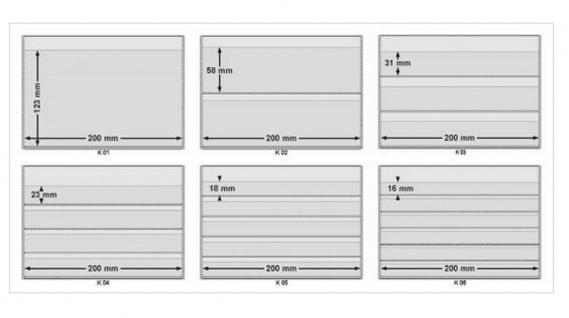 10 x A5 KOBRA K06 Extra starker Karton Einsteckkarten Steckkarten Schwarz Vorderseite versiegelt 210 x 147 mm mit 6 Streifen 202 x 16 mm - Vorschau 3