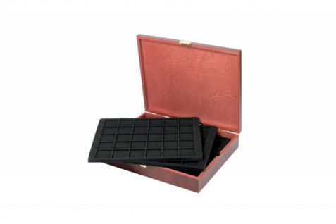 LINDNER S2495-S2115CE Echtholz Holz Münzkassetten 5 schwarze Tableaus 2115CE für 150 Münzen bis 38 mm Ideal für 10 & 20 Euro Gedenkmünzen in original Münzkapseln 32, 5 PP