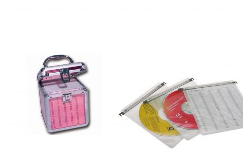 SAFE 171 ALU Koffer CD Acryl Pink Star Für 80 CD's DVD Blue Ray Datenträger in Hängeregistertaschen