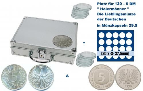 SAFE 235 - 6337 ALU Länder Münzkoffer SMART BR. Deutschland Kursmünzen 5 DM mit 6 Tableaus 6337 Für 120 - 5 Deutsche Mark Kursmünzen von 1950 - 2001 in Münzkapseln
