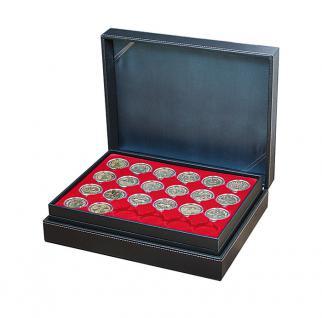 LINDNER 2365-2224E Nera XL Münzkassetten Hellrot Rot 90 runde Fächer für Roulette Poker Jetons Chips in Kapseln 41 mm