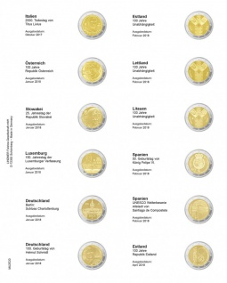 1 x LINDNER MU2E20 Multi Collect Münzhüllen Vordruckblatt 2 Euro Gedenkmünzen Italien 2017 - Estland 2018