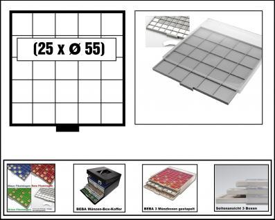 SAFE 6605-6 BEBA MÜNZBOXEN 25 quadratische Fächer 55 mm + weisse Karton Einlagen Für Münzrähmchen Standard 50x50 mm Ideal für US Silver Eagle in Münzkapseln