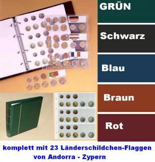 KOBRA FE Schwarz Euro-Münzalbum Album Ringbinder + 5 Münzhüllen Münzblätter FE24 + farbige Vordrucke + 23 Länderschildchen für 15 komplette EURO KMS Kursmünzensätze von Andorra - Zypern