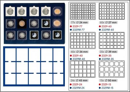 1 x LINDNER 2929M-15 Münztableaus / Einlagen Blau 15 Münzen bis 50 mm für Münzrähmchen Carree & Octo - Leuchtturm Quadrum - SAFE Square - LOOK Plaza