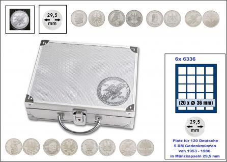 SAFE 250 ALU Länder Münzkoffer SMART BR. Deutschland 5 DM Gedenkmünzen von 1953 - 1986 Platz für 120 Münzen vom Germanischem Museum bis Friedrich der Große in Münzkapseln 29, 5 mm