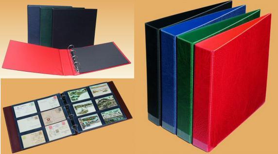 KOBRA AK1B Rot Großes Postkartenalbum Album Ringbinder zum selbst befüllen Für Postkarten - Ansichtskarten - Banknoten - Briefe