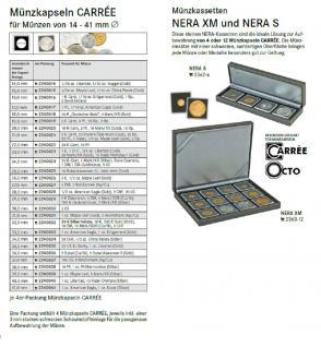 4 x LINDNER 2240022 Münzkapseln / Münzenkapseln CARREE 22 mm Für 10 Pfennig - 20 Cent Euro - Vorschau 3