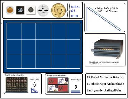 SAFE 6563 Schubladen für SAFE 6500 mit schräger Auflagefläche blaue Einlage 15 eckige Fächer 63 mm - Ideal für große Medaillen - Münzrähmchen Standard - Quadrum - Carree - Octo Münzkapseln