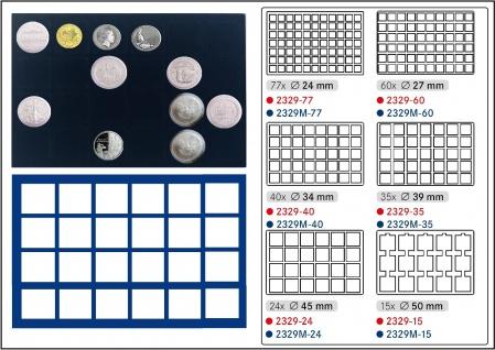 1 x LINDNER 2929M-24 Münztableaus / Einlagen Blau 24 Münzen bis 45 mm für große Unzen Münzen