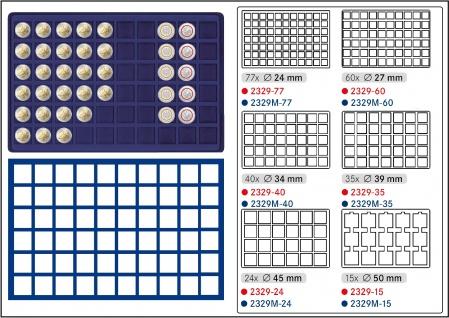 1 x LINDNER 2329M-60 Münztableaus / Einlagen Blau 60 Münzen bis 27 mm für 2 DM 2 Euro 5 EURO Blauer Planet & Klimazonen