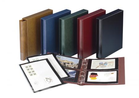 LINDNER 1402-W Doppel FDC Album Ringbinder Rondo Regular Weinrot Rot + Schutzkassette