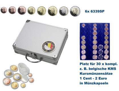 SAFE 239 - 6339 ALU Länder Münzkoffer SMART Belgien / Belgique / Belgie / Belgium mit 6 Tableaus für 30 kompltte Euromünzen KMS Kursmünzensätze 1, 2, 5, 10, 20, 50 Cent 1 - 2 Euro in Münzkapseln