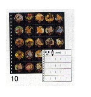 10 x LINDNER 054P Omnia Einsteckblätter schwarz 25 Taschen 46 x 55 mm Für 50 Kaffeerahmdeckeli