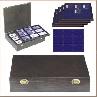 LINDNER 2494-19M CARUS Echtholz Holz Münzkassetten 4 Tableaus 2219ME Marine Blau 36 Fächer 64 x 86 mm für original US Slabs Münzkapseln