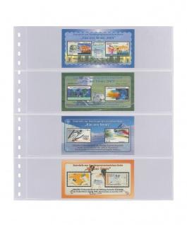 10 LINDNER 824P Klarsichthüllen mit 4 Taschen 242 x 65 mm Für Banknoten Briefmarken Markenheftchen