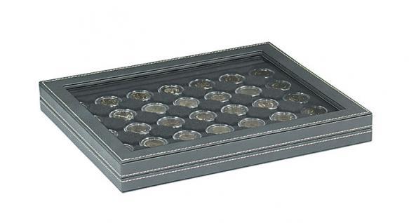 LINDNER 2367-2530CE Nera M PLUS Münzkassetten Einlage Carbo Schwarz mit glasklarem Sichtfenster für 35 x Münzen bis 32 mm für 2 Euro in Münzkapsseln 26