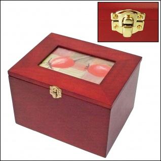 SAFE 5870 Postkartenbox Kassette aus Holz mahagonifarbend mit wechselbarer Deko Karte + 5 Leitkarten für bis zu 400 Karten