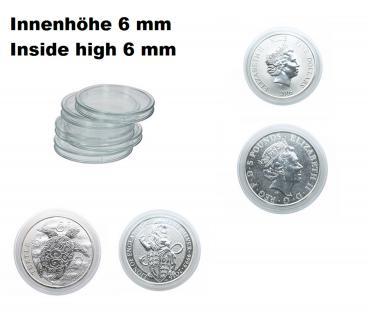 1 LINDNER S2255039P Münzkapseln Münzenkapseln Innenhöhe 6 mm - 39 mm Für 2 OZ Queens Beasts & Canadian Goos Silber