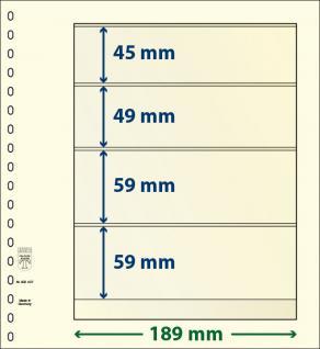 10 x LINDNER 802407P T-Blanko-Blätter Blankoblatt 18-Ring Lochung 4 Taschen 45 / 49 / 59 / 59 x 189 mm