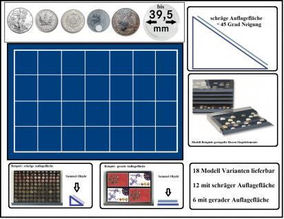 SAFE 6445 Stapelelemente - Münzboxen Münzen-SAFE mit schräger Auflagefläche blaue Einlage 28 eckige Fächer 45 mm - Ideal für US Silver Eagle, Maple Leaf Dollar, 5 Mark Kaiserreich , 12 Euro Spanien & Münzkapseln bis 39, 5 mm