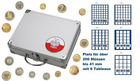 SAFE 244 STANDARD ALU Münzkoffer SMART Polen / Polska / Poland mit 6 Tableaus Mix für über 200 Zloty - Groszy Münzen