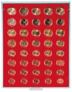 LINDNER 2556 Münzbox Münzboxen Standard 5 komplette Euromünzen KMS Kursmünzensätze in Münzkapseln 1, 2, 5, 10, 20, 50 Cent & 1, 2 Euromünzen