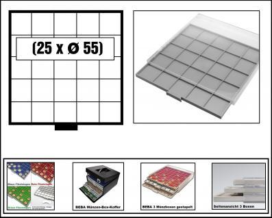 SAFE 6605 BEBA MÜNZBOXEN Standard Grau 25 quadratische Fächer 55 mm Für Münzrähmchen Standard 50x50 mm Ideal für US Silver Eagle in Münzkapseln