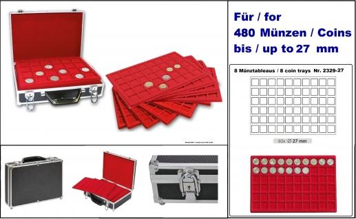 LINDNER 2338-480 MÜNZKOFFER im schwarzen Alu Design + 8 roten Tableaus 2329-60 für 480 Münzen bis 27 mm Ideal für 2 Euro Münzen